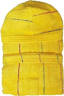 Gabel Accappatoio Cappuccio Uomo Spugna Jacquard 380 g/mq Made in Italy Stripe (407 Giallo, XL)