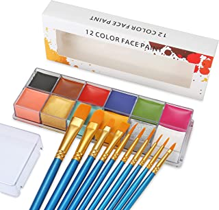 Professional Face Body Paint Oil 12 Colors Painting Art Party Halloween Fancy Make Up with Brushes