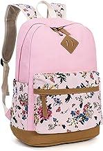 Leaper Vintage Canvas Leicht Blumen Rucksack Vintage Daypack Schulrucksäcke für Outdoor Picknick Außflug UniRosa