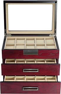 Luxury 30 Cherry Wood Watch Box Display Case 3 Level Storage Jewelry Organizer with Glass Top, Stainless Steel Accents, 2 Drawers for Closet, Dresser or Vanity Father's Day