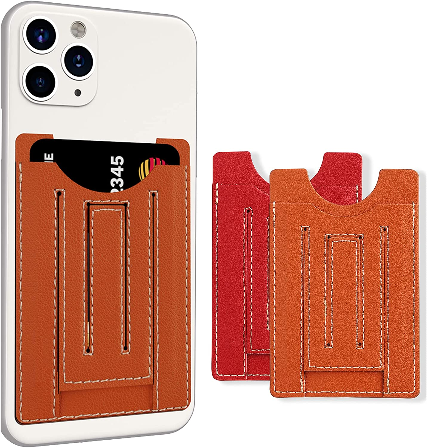 U-echo Stick-on Credit Card Holder with Phone Stand for Back of Cell Phone, Leather Adhesive Credit Card Wallet, Compatible with Most Cell Phones [2 Pack, Orange+Red]