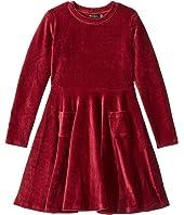 Corduroy Long Sleeve Waisted Dress (Toddler/Little Kids/Big Kids)