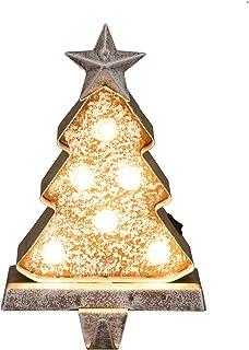 "Glitzhome Rustic Style LED Light Stocking Holder Galvanized Seasonal Home Decor Christmas Tree, 7.50"" H"