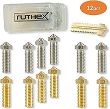 ruthex Volcano buse d'imprimante 3D [12 pièces] | 6x buses en laiton 6x buses en acier inoxydable | 1,75 filament | pour les imprimantes 3D par exemple Artillery Genius/Sidewinder X1