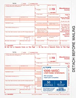 Tops 1099 MISC Inkjet/Laser Tax Forms for 2018-5-part Form Sets for 50 recipients and a 1096 Summary Transmittal Form