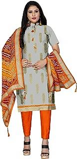 Maroosh Women'S Cotton Fabric Grey Color Chudidar Free Size Dress Material