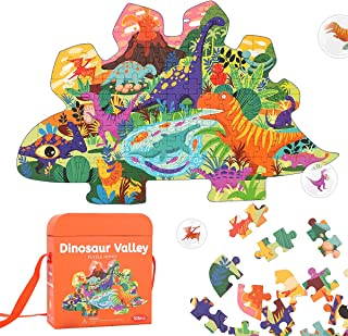 REMOKING Kids Jigsaw Puzzle Ages 3-8,105 Pieces Dinosaur Floor Puzzle with Storage Bag,Educational Learning Jigsaw Puzzle ...