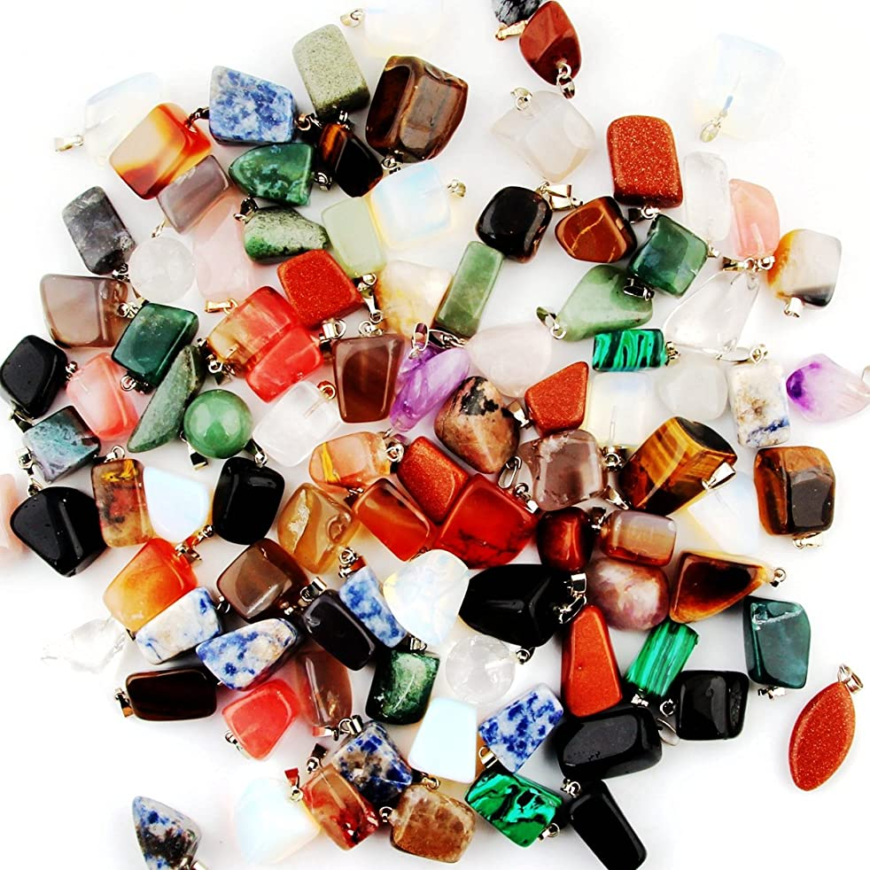 Mutil Random Irregular Shape Healing Beads Crystal Stone Quartz Charms Pendants for Necklace Jewelry Making (20pcs)
