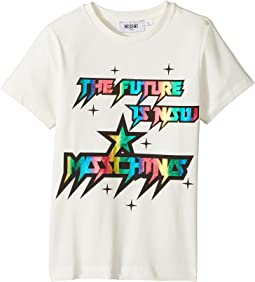 Moschino Kids - Short Sleeve 'The Future Is Now' Logo T-Shirt (Little Kids/Big Kids)