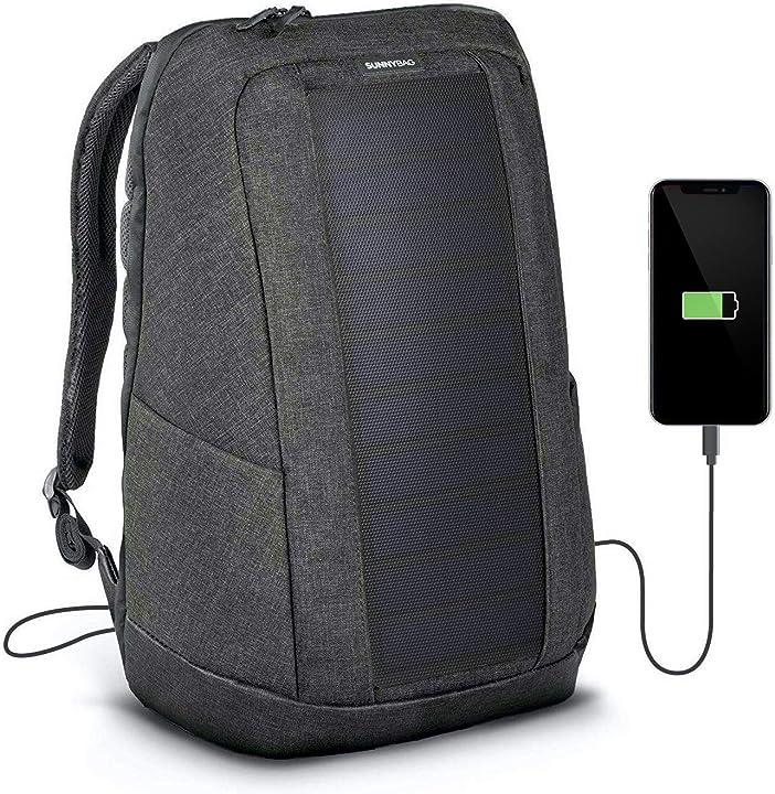 Zaino solare con pannello solare integrato da 7w per ricaricare cellulari tablet fotocamere portatili etc B07J53BVXH