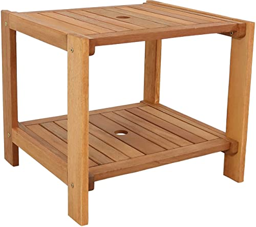 popular Sunnydaze high quality Meranti Wood Outdoor Side Table with Teak outlet sale Oil Finish - Outside Wooden Accent Furniture for Patio, Balcony Porch, Deck, Garden and Backyard - 20-Inch online sale