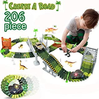 AOKESI Dinosaur Train Track Toy, 206 Pcs Educational Twisted Flexible Track Playset and 2 Pcs Cool Dinosaur Car - Create a Road Jurassic Escape World for Christmas & Birthday Gift for Boys & Girls