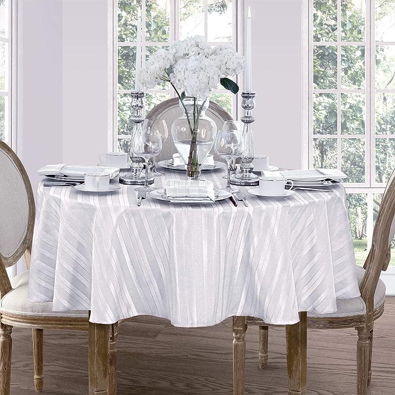 Newbridge Satin Stripe Weave No Iron Soil Resistant Fabric Tablecloth 60 X 84 Oval White