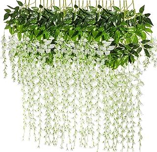 BJH 12 Pack 3.6 Feet/Piece Artificial Fake Wisteria Vine Ratta Hanging Garland Silk Flowers String Home Party Wedding Décor