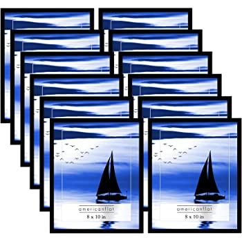 Americanflat 12 Pack - 8x10 Black Frames with Glass Fronts