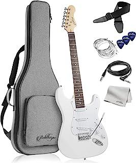 گیتار برقی 39 اینچی اشتورپ (سفید-سفید) ، کیت گیتار تمام اندازه با کیسه Gig Padded ، نوار Tremolo ، بند ، رشته ها ، کابل ، پارچه ، تابلوها