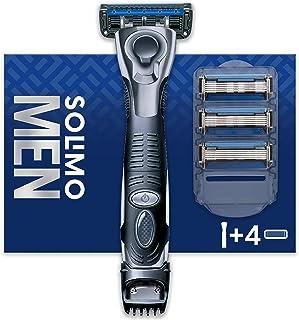Amazon-merk - Solimo mannelijk 5-messcheermes met 3-in-1 trimmer en 4 messen