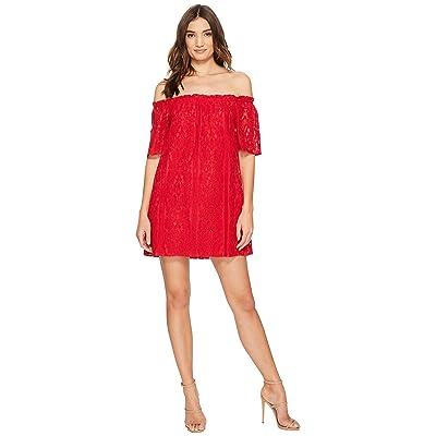 BB Dakota Erica Lace Off the Shoulder Dress (Red) Women