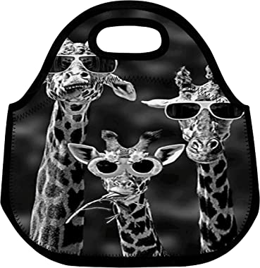 ZMvise Wild Animal Safari Giraffe Forest Prairie Lunch Tote Insulated Reusable Picnic Bags Boxes Men Women Youth Nurses Trave