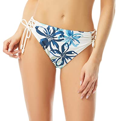 Carmen Marc Valvo Fleur Fresca Ruched Bikini Bottoms with Lacing Side and Bead Cord End (White) Women