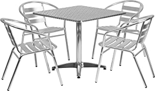 Flash Furniture 31.5'' Square Aluminum Indoor-Outdoor Table Set with 4 Slat Back Chairs