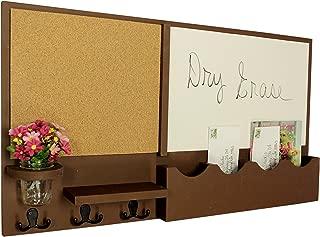Legacy Studio Decor Message Center with White Board & Cork Board Mail Slots Key Hooks Mason Jar (Smooth, Chocolate)