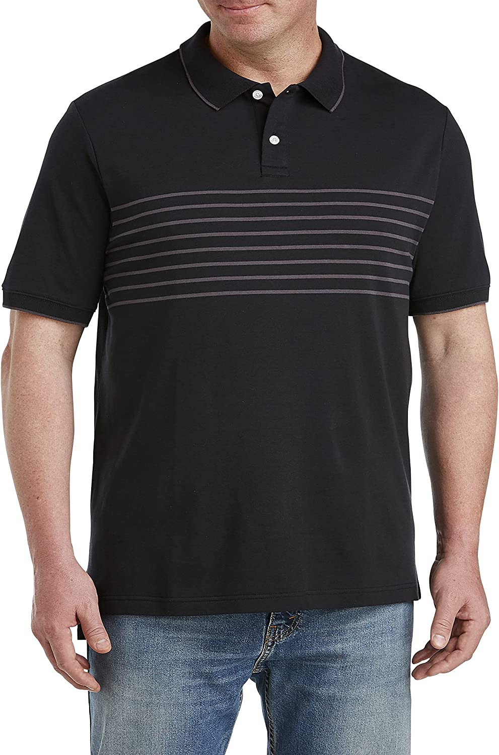 Harbor Bay by DXL Big and Tall Chest Stripe Polo Shirt, Black
