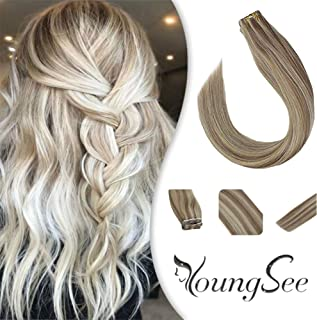 Youngsee 20 inch Dip Dyed Tape Extensions 100% Human Hair Highlight Ash Brown with Golden Blonde Silk Straight Ombre Remy Hair Extensions Tape in Extensions 20pcs/50g/pack