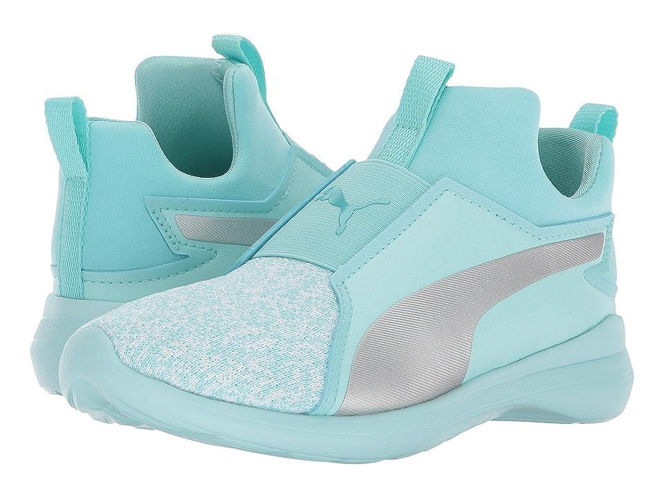 Puma Kids Rebel Mid Fashion Knit (Little Kid) (Island Paradise/PUMA Silver) Girls Shoes