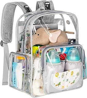 Diaper Bag Backpack, Clear Girls Baby Bag Heavy Duty Transparent Backpack for Girls Boys, Multifunction Large Travel Back ...