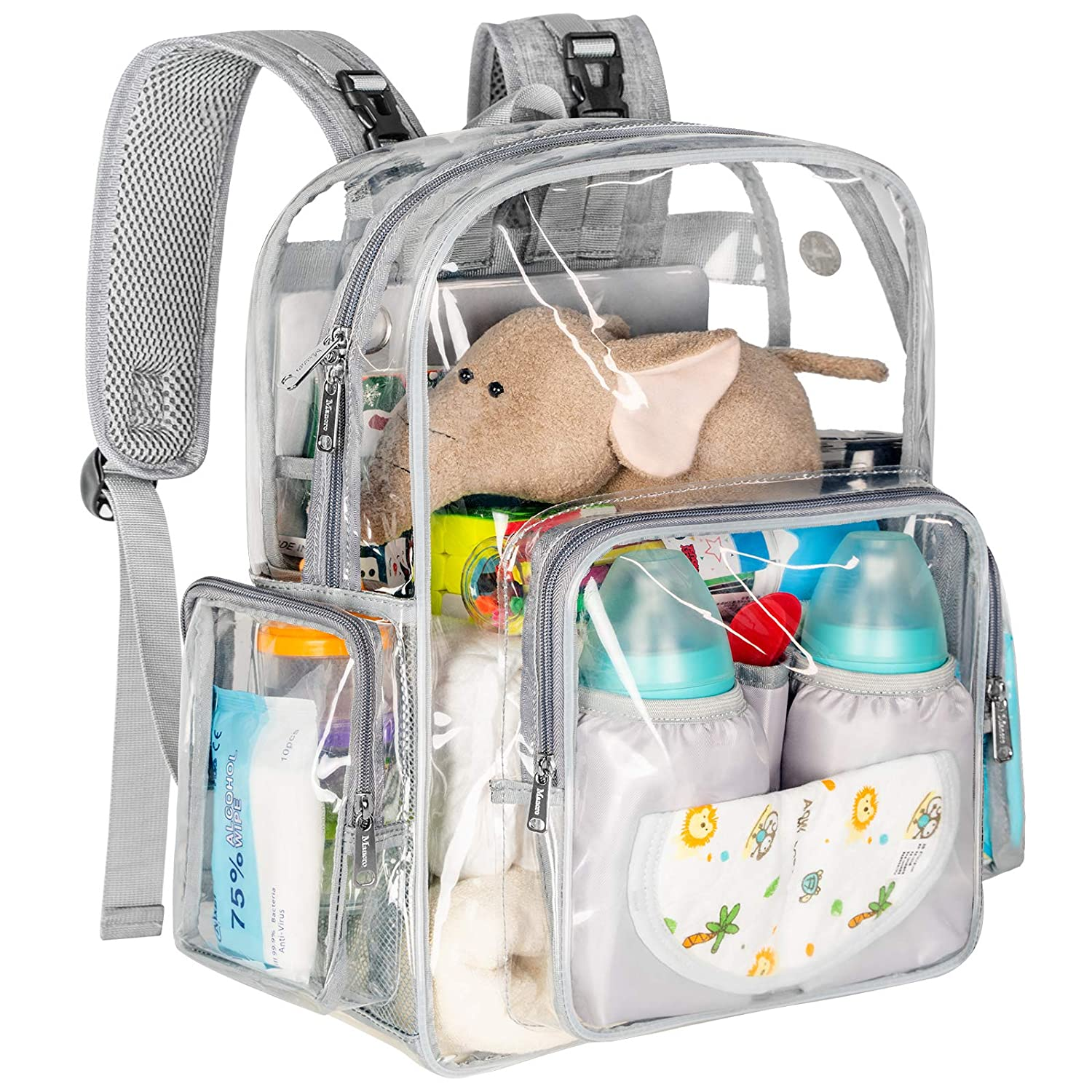 Diaper Bag Backpack, Clear Baby Bag Heavy Duty Transparent Backpack for Girls Boys, Multifunction Large Travel Back Pack Maternity Baby Nappy Changing Bags for Mom with Stroller Straps, Gray