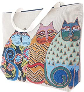 MY HOPE Large Tote Bag Shoulder Bag for Shopping Gym Beach Travel Bags Light Brown with Cat Pattern Multicolor.