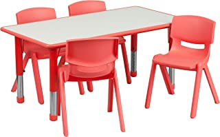 Flash Furniture 23.625''W x 47.25''L Rectangular Red Plastic Height Adjustable Activity Table Set with 4 Chairs