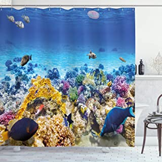 Ambesonne Fish Shower Curtain, Underwater Sea World Scene with Goldfish Starfish and Jellyfish Depth Diving Concept, Cloth Fabric Bathroom Decor Set with Hooks, 75