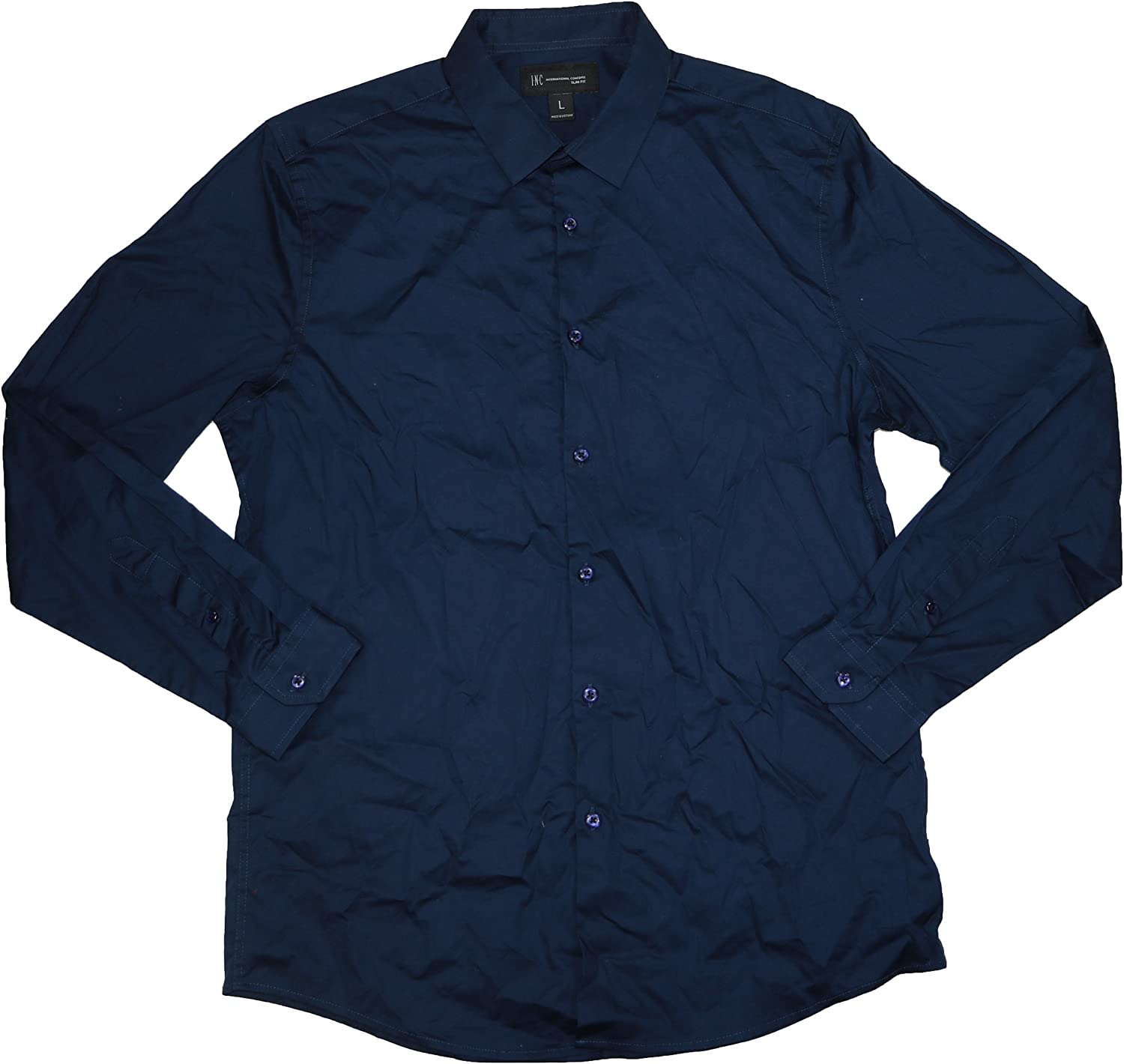 I-N-C Mens Stretch Ls Button Limited time low-pricing sale Shirt Up