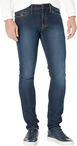 Stretch Skinny Five-Pocket Denim Jeans in Blue Medium Enzyme