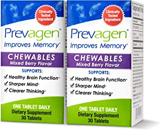 Prevagen Improves Memory - Regular Strength 10mg, 30 Chewables |Mixed Berry-2 Pack| with Apoaequorin & Vitamin D | Brain S...