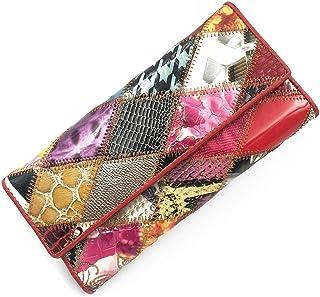 [MIKA&MAYA] 財布 レディース 長財布 大容量 本革 小銭入れ 三つ折り パッチワーク