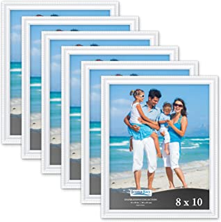 Icona Bay 8x10 Picture Frames (6 Pack, White) Picture Frame Set, Wall Mount or Table Top, Set of 6 Inspirations Collection