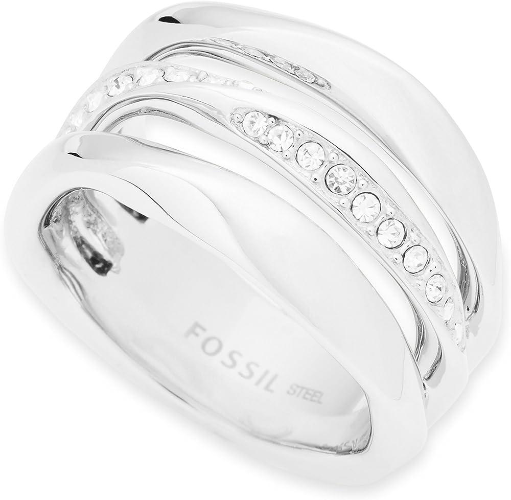 Fossil  anello da donna in acciaio con finitura lucida con cristalli ed effetto intrecciato JF01147040505