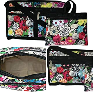 LeSportsac Sunlight Floral Deluxe Shoulder Satchel Crossbody Bag + Cosmetic Bag, Style 7519/Color E141