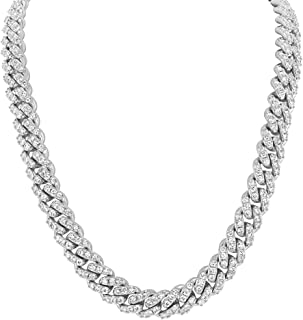 Shop-iGold 18K Gold Finish Lab Diamond CZ Miami Cuban Link Chain Necklace Micro Pave Iced Out Mens Choker Necklace - Mens Jewelry, Men's Necklace, Iced Out Chain, Iced Out Jewelry