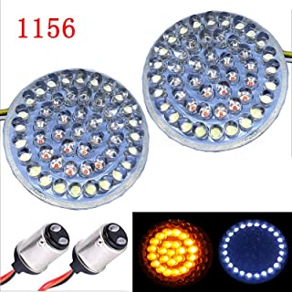 Linya Pair 2'' Bullet Style White Running Light and Amber Rear Brake Light LED Turn Signal Kit with 1157 Base Compatible w...