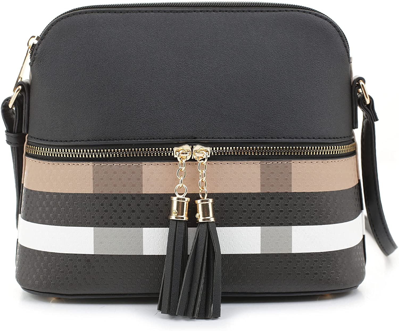 SG SUGU Lightweight Medium Dome Crossbody Bag Shoulder Bag with Tassel   Plaid Pattern