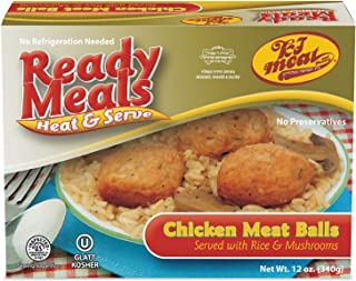 Kosher Meat Meals Ready to Eat, Kosher Chicken Meat Balls Served with Rice & Mushrooms (Microwavable, Shelf Stable) – Dairy Free, Glatt Kosher (12 oz, Pack of 1)