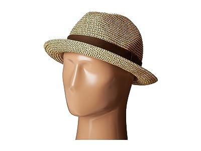San Diego Hat Company UBF1017 Mixed Paper Braid Fedora Hat with Ribbon Trim (Mix Black) Fedora Hats