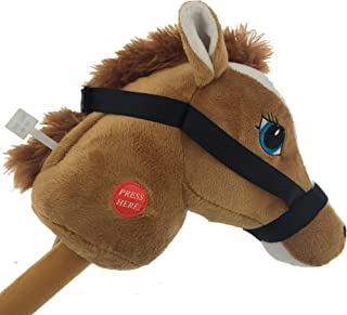 YMCtoys My First Horse, 29 Inch Stick Horse, Giddy-up and Go Pony w/ Real Sound - Light Brown