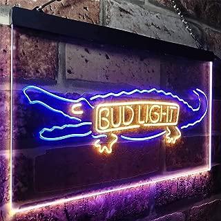 zusme Bud Light Alligator Gator Beer Novelty LED Neon Sign Blue + Yellow W16 x H12