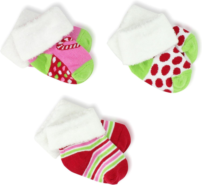 Jefferies Socks Baby-Girls Newborn Christmas Fuzzy Cuff Socks 3 Pair Pack Gift Box