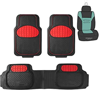 FH Group F11500 Heavy Duty Trimmable Touchdown Floor Mats (Red) Full Set with Gift - Universal Fit for Trucks, SUVs, and Vans